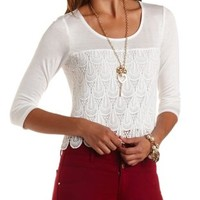 Three-Quarter Sleeve Crochet Top by Charlotte Russe
