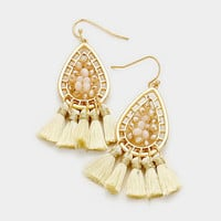 Ivory & Gold Beaded Metal Teardrop Thread Tassel Earrings