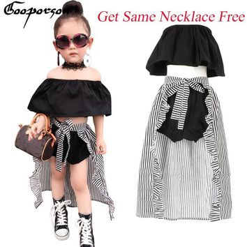 Girls Clothes Set Baby Girl's 3 Pcs Clothing Suit Cute Kids Summer Black Shirt Pants Stripe Cloak For Children Outfit & Necklace