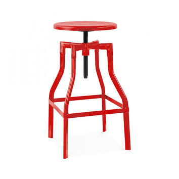 Machinist Glossy Red Adjustable Barstool 26-32