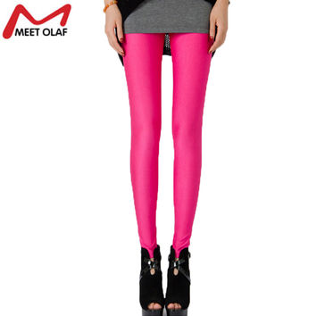 Women Long Leggings Candy Color Shine Womens Leggins Clothing Fitness Girls Leggings  YL398