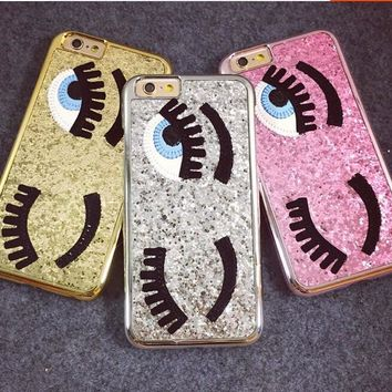 Big Eyes Winking Glitter Case for Iphone