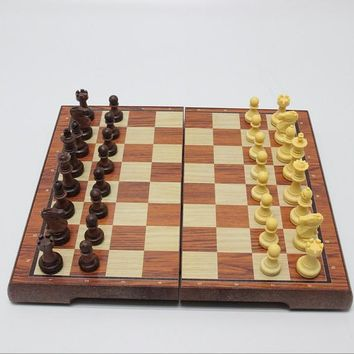 "Chess Set 12""x12"" Folding Wooden Standard Travel International Chess Game Board Set with Magnetic Crafted Pieces 16700"