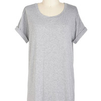 ModCloth Minimal Long Short Sleeves Cover-up Simplicity on a Saturday Tunic in Grey