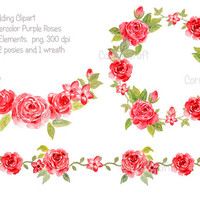 Wedding Clipart - Watercolor Red Roses collection printable instant download (set27)