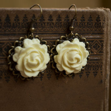 Polymer Clay Yellow Rose Earrings. Antique Brass Dangle Earrings. Flower Jewelry. Yellow Jewelry