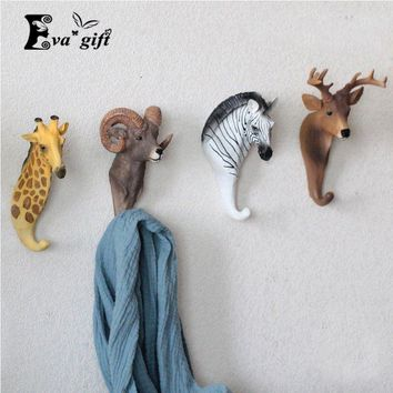 Resin animal keys holder living room cloth wall rack for office hat/bag hook Three-dimensional home Xmas decor.kids