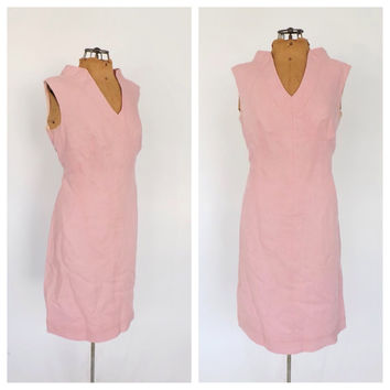 Vintage 1960s Shannon Rodgers for Jerry Silverman Mod Wiggle dress Pink Linen Spring Dress Mad Men 60s Sheath Day Dress Size Medium Large