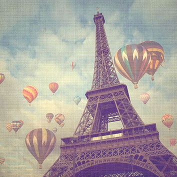 Paris Photograph, Eiffel Tower, Hot Air Balloons, Whimsical, Travel Photography -  8x10 fine art photograph