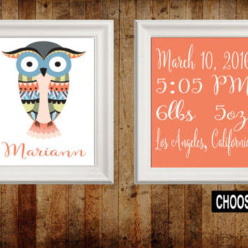 TRIBAL Nursery Wall Art, OWL Birth Announcement, Birth Stats, Canvas or Prints Woodland Wall Art, Wood Forest Animals