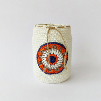 Ivory pen holder with blue orange brown crochet mandala, eco friendly pencil organizer, desk accessory, office decoration, kids room decor