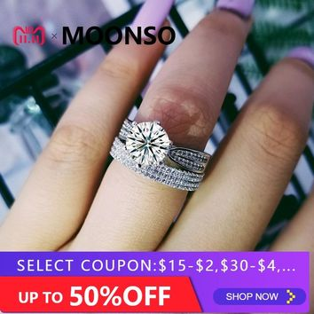925 Sterling silver wedding Rings set 3 in 1 band ring for Women engagement bridal fashion jewelry finger moonso R4630