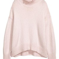 Knit Turtleneck Sweater - Powder pink - Ladies | H&M CA