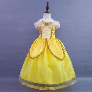 2017 new fashion baby girls cosplay costume kids princess belle dress baby girls cotton Bronzing yellow Children party dress