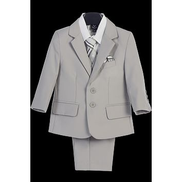 Light Grey 5-pc Boys Two Button Suit with Vest 6m-14