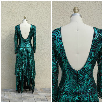 Vintage 80s Green Sequin Beaded Evening Dress// Plunge Open Back Dress//  Prom Party Cruise Dress// Formal Evening Gown// Handkerchief Hem