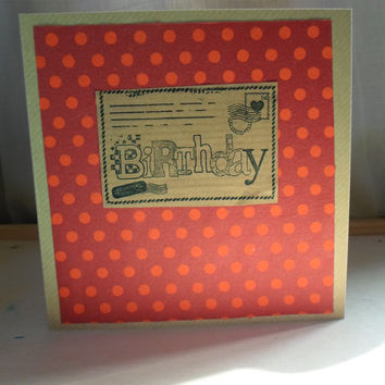 Birthday Card For Him Men's Boy's Male Orange Spotty Dots Many Happy Returns