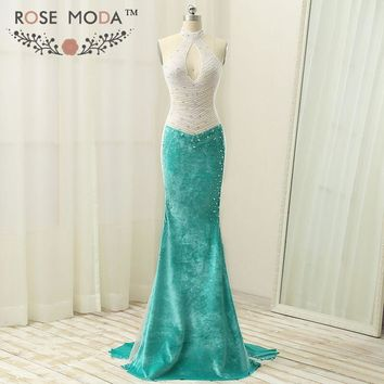 Sexy Halter Keyhole Front Green Velvet Mermaid Prom Dress Cut Out Open Back Heavily Beaded See Through Top Real Photos