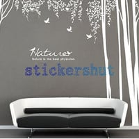 large nature white  birch tree wall decal for  vinyl  tree Nursery wall stickers living room decor