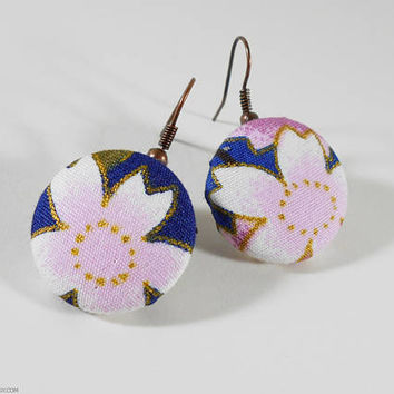 Kimono Fabric Earrings Japanese Button Earrings - Japanese Cotton Handmade Jewelry Button Earrings Sakura Cherry Blossoms Flowers