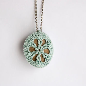 Crochet covered rock, lace stone necklace, 18 inch antique look silver chain, seafoam thread, bullion stitch, mothers day, romantic jewelry