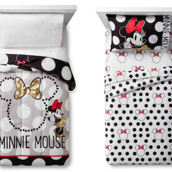 "Disney Minnie Mouse ""Rock the Dots"" Soft Comforter and Sheets Set - Twin"