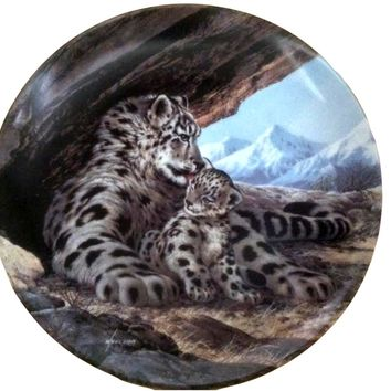 Vintage Snow Leopard: Last of Their Kind Endangered Species Plate