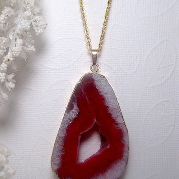 Large Teardrop Druzy Geode Necklace - Passion Red