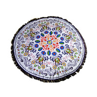 Round Hippie Tapestry Beach Throw Roundie Mandala Towel Yoga Mat Bohemian Intricate Design Wall Hanging Dorm Table Cloth Nov3