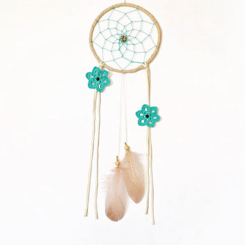 Bohemian dreamcatcher, turquoise, cream, powder, wall hanging, ceramic beads, white feathers, dream catcher, long, medium, handmade, floral