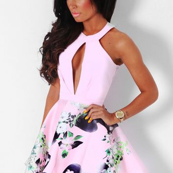 Cholena Pink Floral Skater Dress | Pink Boutique