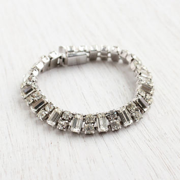 Vintage Kramer of NY Rhinestones Bracelet -  Silver Tone 1950s Signed Hollywood Regency Costume Jewelry / Faux Diamond Double Row