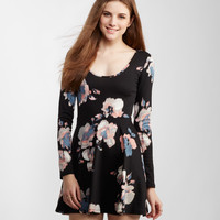 Long Sleeve Sheer-Back Floral Skater Dress