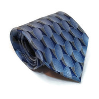 "Men's Stafford Tie Blue White Leaves 100% Silk Leaf Necktie 60"" x 3.75"" Vintage Blue Necktie Retro Silk Tie Gift Formal Men's Tie Gift"