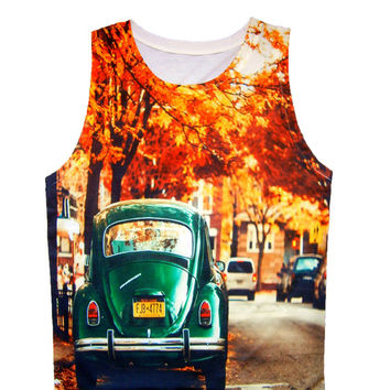 Green Volkswagen Beetle Retro Tank Top T-Shirt Men Shirt Sleeveless White TShirt Women
