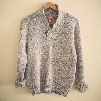 Shawl Collar Heather Grey Oatmeal Wool Chunky Sweater Boyfriend Thick Comfy Cozy Pullover 1980's 70's Preppy Hipster Men's Size Medium