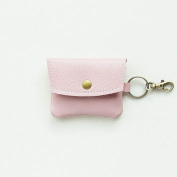 Pale Pink Leather Keychain Wallet, Coin Purse, Credit Card Wallet, ID Wallet, Business Card Wallet