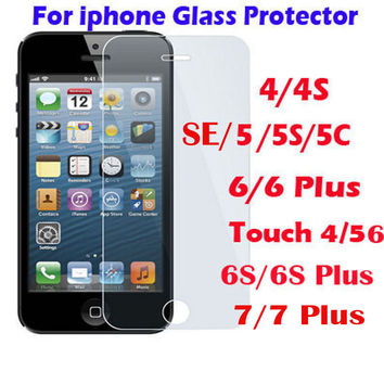 Tempered Glass Screen Protector Guard for ipod touch iphone 4 4S 5 5S SE 6 7 6S Plus Protective Film iphone6s Front Cover Case