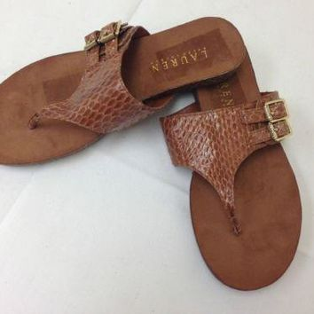 Ralph Lauren Malia Snakeskin-Leather Sandal 5.5 M