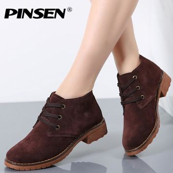 Womens Leather Ankle Suede Leather Motorcycle Boots