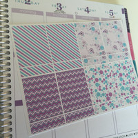 April Themed Planner Stickers - Blue and Purple with Flowers - Large and Small Rectangles - Pick your Combination of Sizes