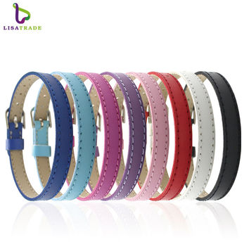"10PCS 8MM Artificial Leather DIY Wristband Bracelets "" Mix Color"" Fit Slide Letter C007 LSBR015*10--LSBR015-10*10"