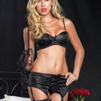 Leg Avenue Lingerie 81351 - 2 PC. Black Satin Underwire Bullet Bra with French Pique Trim & Matching Garterbelt with Corset Lace up Front
