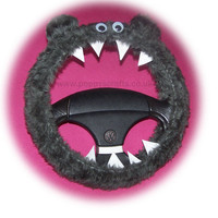 Fuzzy faux fur grey monster steering wheel cover fluffy furry car fun