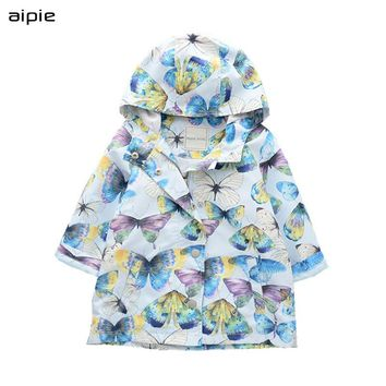 aipie New Brand Fashion Children Boys Girls Trench European and American Style Butterfly Printing Unisex Outerwear & Coats