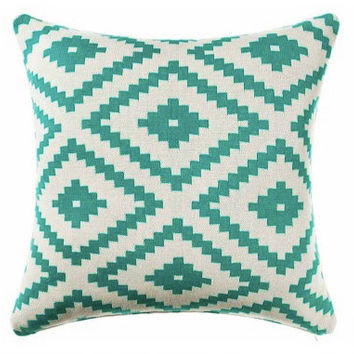Pillow Cover, Aztec Pillow Cover, 18 x 18 Turquoise Pillow Cover, Teal Tribal Pillow Cover, Throw Pillow, Toss Pillow, Sofa Pillow