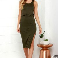Walk On By Olive Green Midi Dress