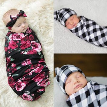 Newborn Toddler Baby Infant Swaddle Blanket Sleeping Swaddle Muslin Wrap+Headband Flower Warm Soft Sleeping Bag