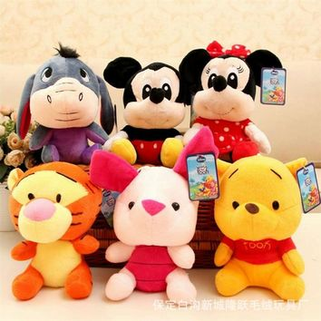6pcs/Lot 20cm Mickey Mouse Doll Minnie Mouse Doll Mickey Stuffed Plush Toy Pig Tiger Donkey Bear Mini Dolls for Baby Small Gift