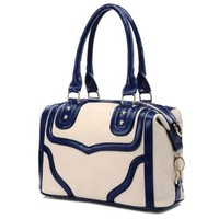MG Collection LACOLE Beige and Blue Doctor Style Office Handbag / Shoulder Bag:Amazon:Shoes